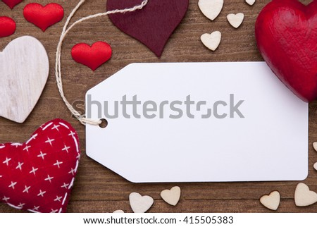 Label, Red Hearts, Copy Space, Macro