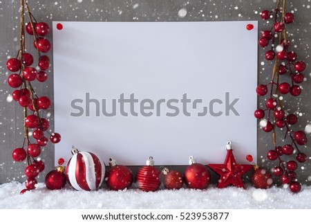 Label, Snowflakes, Christmas Balls, Copy Space