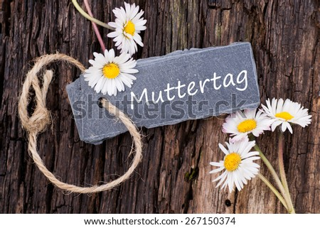 Label with german text: Mother's day - stock photo
