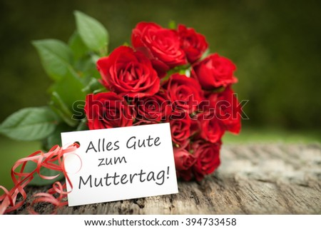 Label with german text: Mothers day