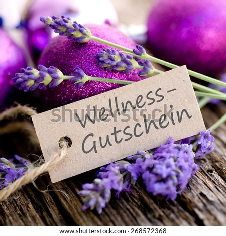 Label with german text: Well being gift - stock photo