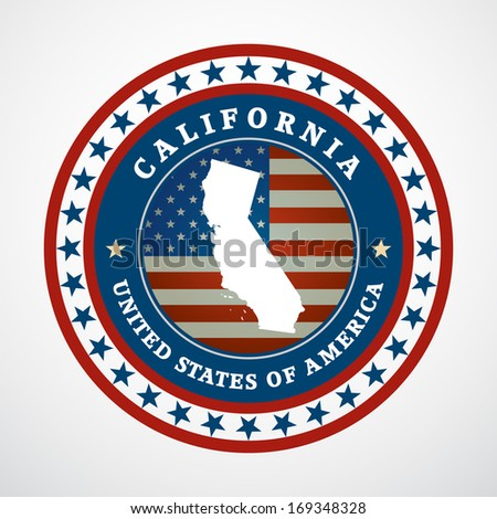 Label with map of California - stock photo