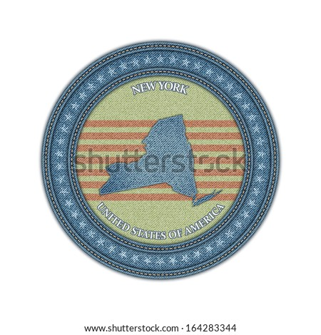 Label with map of new york. Denim style. Jpeg version. - stock photo