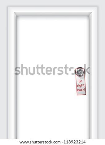 Label with message on door knob - stock photo