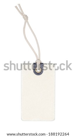 Label with string isolated on the white background, clipping path included.