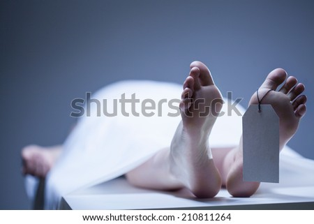 Labeled remains of person lying in mortuary - stock photo