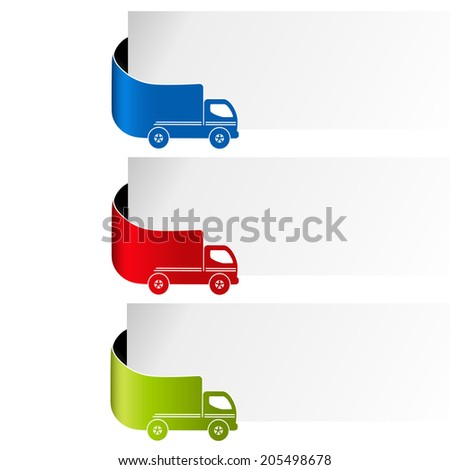 labels - delivery method, free delivery, fast delivery, truck - stock photo