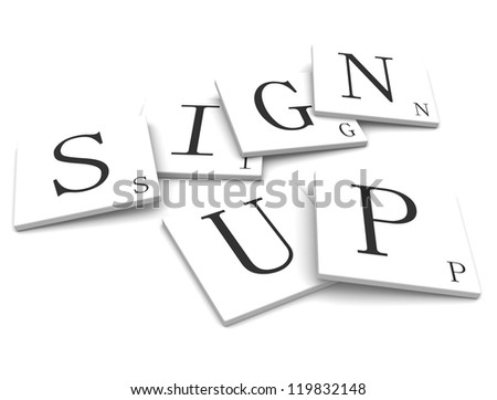Labels for the sign up - stock photo