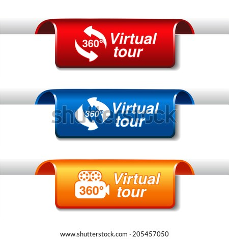 labels for virtual tour - stock photo