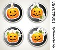 Labels with Halloween pumpkins - stock photo