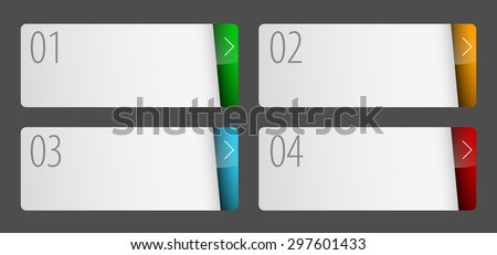 Labels with number of option flat design. Can be used for workflow layout, application icon, diagram, number options, step up options, web design, infographics