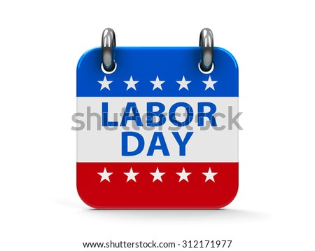 Labor day calendar icon as american flag, three-dimensional rendering