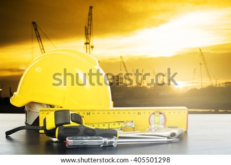 Labor day tools and equipment for work in construction site place. - stock photo
