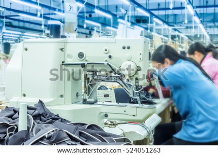 Labor force work in the garment factory
