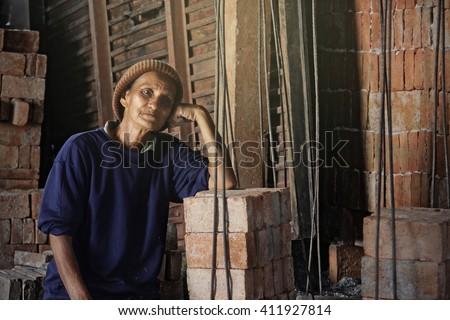 Labor life in the Brick kiln, Central of Thailand - stock photo