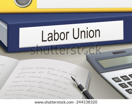 labor union binders isolated on the office table - stock photo