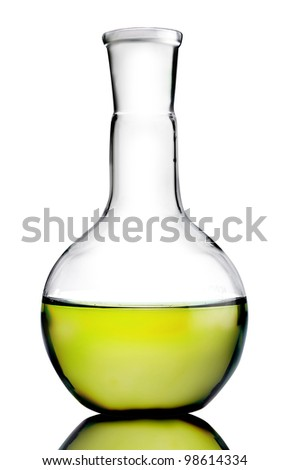 Laboratory bottle with yellow liquid inside (with clipping path) - stock photo