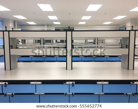 Laboratory chemical in science classroom interior