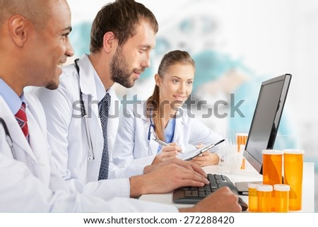 Laboratory, Computer, Doctor. - stock photo