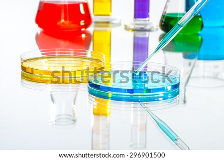 Laboratory Equipment Scientific Research, reflective white background for chemical research - stock photo