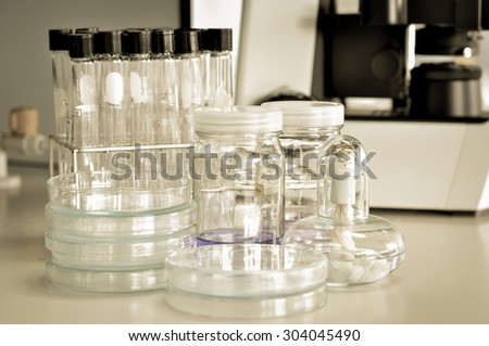 laboratory equipment with old color style - stock photo