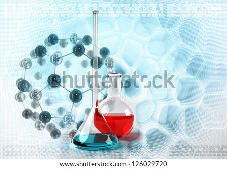 laboratory flask on molecules stylized abstract background - stock photo