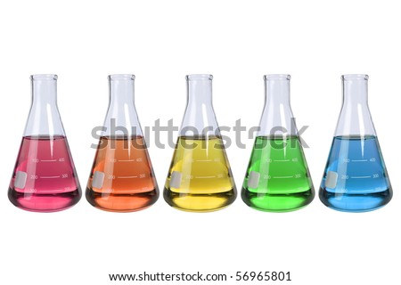 Laboratory flasks with fluids of different colors isolated over white background