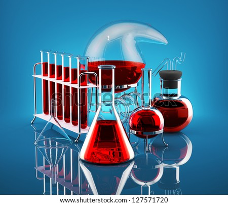 Laboratory flasks with reagents red on a blue background - stock photo