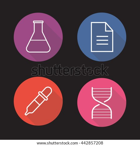 Laboratory flat linear long shadow icons set. Medical lab flask, test results, DNA stand and dropper symbols. Science research equipment. Outline logo concepts. Raster line art illustrations - stock photo