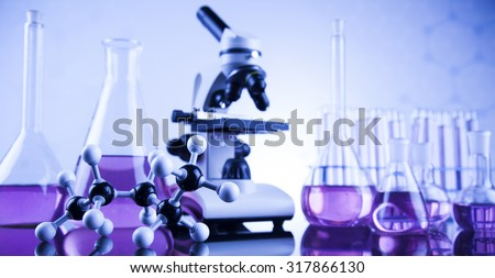 Laboratory glass, Chemistry science concept - stock photo