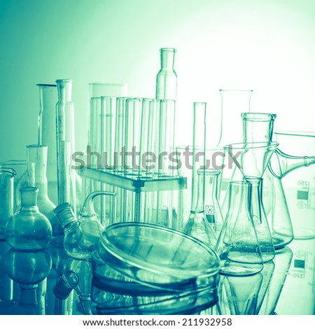 Laboratory glass for chemistry or medicine for research - stock photo