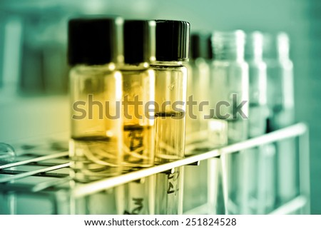 Laboratory glassware containing chemical liquid