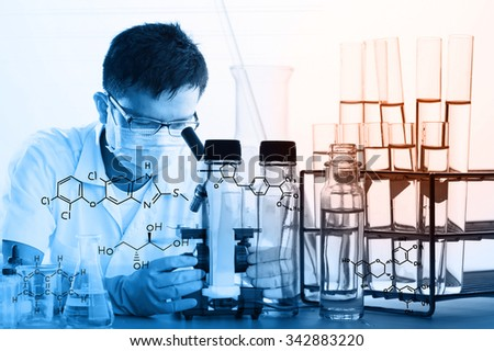Laboratory glassware containing chemical liquid, science research,Double exposure of scientist and test tubes, laboratory concept.with chemical equations - stock photo