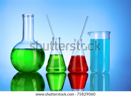 Laboratory glassware on black background