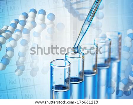Laboratory glassware on color background - stock photo