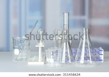 Laboratory glassware on lab table