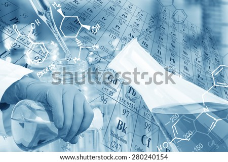Laboratory glassware, test tubes and flasks in laboratory with chemical equations and periodic table background. - stock photo