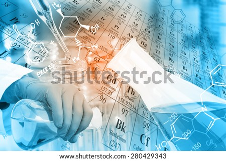 Laboratory glassware, test tubes and flasks in laboratory with chemical equations and periodic table background.