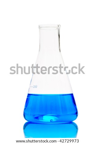 Laboratory glassware with analyzing liquid isolated over white background