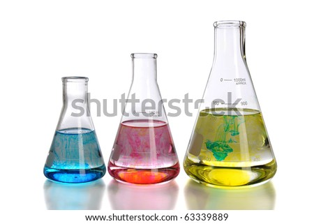 Laboratory glassware with reflections isolated over white background - With clipping path