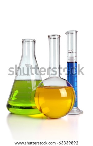 Laboratory glassware with reflections on table isolated over white background - With clipping path on glass