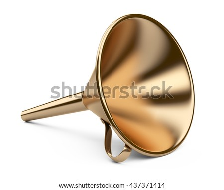 Laboratory golden funnel. 3D illustration on white background. - stock photo