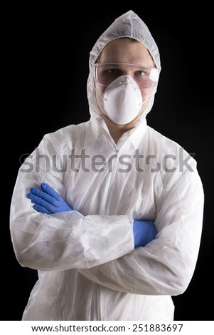 laboratory man on black background