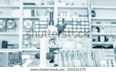 Laboratory microscope lens.modern microscopes in a lab. - stock photo
