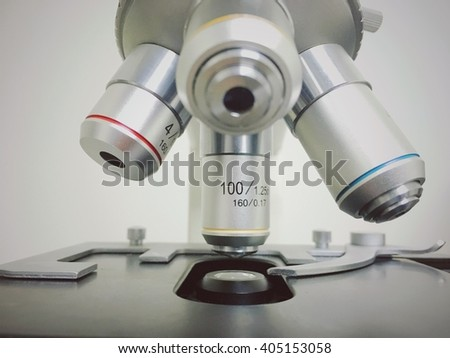 Laboratory Microscope. Scientific and healthcare research background. - stock photo