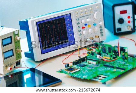 Laboratory of research microelectronics - stock photo