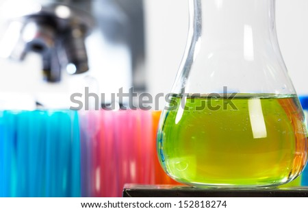 Laboratory test tube. Scientific research background. - stock photo