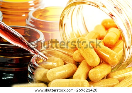 Laboratory Testing and Curtain Kind of Medicine for New Drug Development. - stock photo