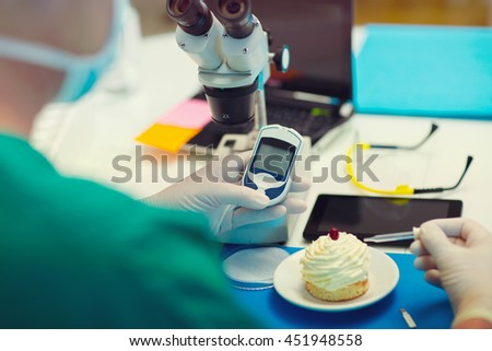 Laboratory testing of glucose to cake, selective focus
