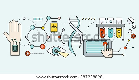 Laboratory with human DNA. Concept scientific. Research molecule, chemistry medical, biology technology, atom and gene medicine, biotechnology evolution, molecular structure, genetic spiral - stock photo